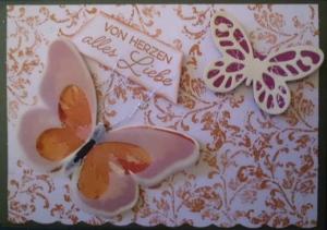 Handgemachte , sehr romantische Karte in orangerot mit Schmetterlingen - Handarbeit kaufen