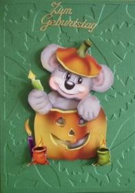 Lustige Geburtstagskarte mit Maus und Kürbis, gerade richtig für Geburtstage im Oktober - Handarbeit kaufen