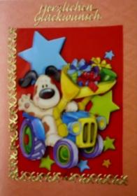 Selbstgestaltete Grußkarte für Kinder, lustig und bunt - Handarbeit kaufen