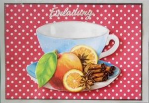 Selbstgemachte Einladungskarte zum Kaffee in der Adventszeit. - Handarbeit kaufen