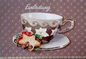 Selbstgemachte Einladungskarte zum Kaffee oder Tee.. - Handarbeit kaufen