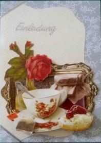 Einladung zur Teestunde mit der Freundin - Handarbeit kaufen