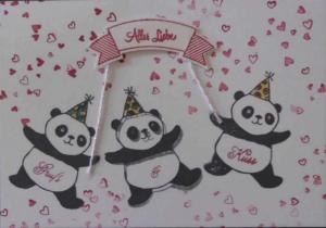 Handgemachte Glückwunschkarte zum Geburtstag mit drei Pandas - Handarbeit kaufen