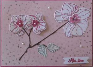 Wundervolle, handgemachte  Geburtstagskarte mit Orchideen - Handarbeit kaufen