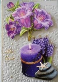 Handgmachte Glückwunschkarte auf geprägtem Papier mit Kerze und Blumen - Handarbeit kaufen