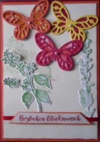 Handgemachte, sehr aufwendig gestaltete, Schmetterlingskarte zum Geburtstag - Handarbeit kaufen