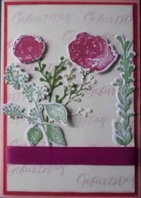 Handgemachte, aufwendig gestaltete, Grußkarte mit Blumen - Handarbeit kaufen