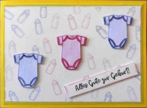 Liebevoll selbstgestaltete Karte zur Geburt von Drillingen - einem Mädchen und zwei Jungen - Handarbeit kaufen