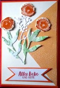 Selbstgebastelte Karte zum Geburtstag in sommerlichen Farben - Handarbeit kaufen