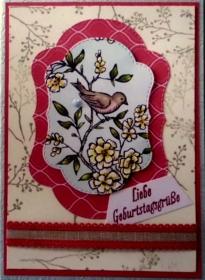 Handgemachte Grußkarte mit einem Vögelchen zum Geburtstag - Handarbeit kaufen
