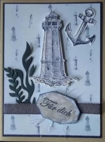 Hübsche, selbstgestaltete Grußkarte mit vielen Details für Nordlichter - Handarbeit kaufen