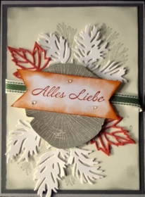 Herbstliche selbstgestaltete Grußkarte mit Zweigen und Blätten - Handarbeit kaufen