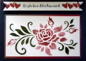 Eine handgemachte, hübsche Karte mit Rosenbouquet - Handarbeit kaufen
