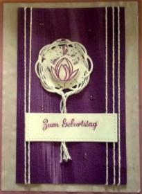 Handgemachte Geburtstagskarte - Ein Traum in lila mit Knospe - Handarbeit kaufen