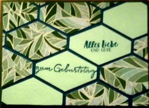 Grüne, selbstgestaltete Karte mit Rauten - Handarbeit kaufen