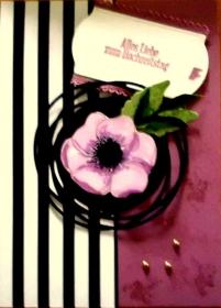 Handgemachte Grußkarte zum Hochzeitstag in rosa mit Mohnblüte - Handarbeit kaufen