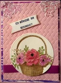 Liebevoll gestaltete Grußkarte mit Blumenkorb - Handarbeit kaufen