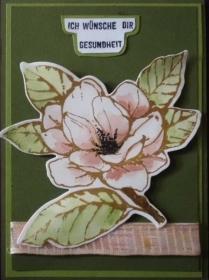 Handgemachte Grußkarte mit Magnolie und liebem Gruß - Handarbeit kaufen