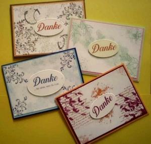 Ein Bundle aus 4 handgemachten Karten -  einfach mal ``Danke` sagen - Handarbeit kaufen