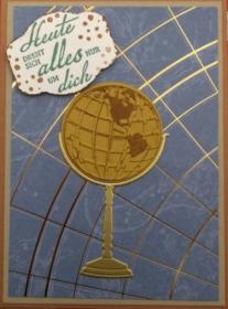 Selbstgebastelte Grußkarte für Männer zum Geburtstag mit Globus - Handarbeit kaufen