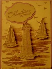 Selbstgestaltete Grußkarte im Vintage-Look für jemanden, der auf Weltreise geht - Handarbeit kaufen