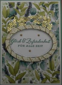 Aufwendig selbstgemachte Karte zur Hochzeit in Grüntönen - Handarbeit kaufen