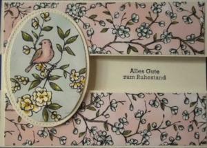 Süße, handgemachte Karte zum Ruhestand, mal in einem anderen Format - Handarbeit kaufen
