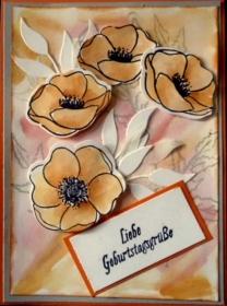 Hübsche, handgemachte Grußkarte mit Mohnblüten  - Handarbeit kaufen