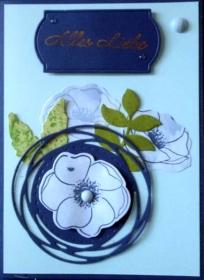 Handgemachte Grußkarte in blau - vielseitig nutzbar - Handarbeit kaufen