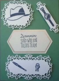 Selbstgemachte Grußkarte für ein neues Teammitglied, in blau und grün - Handarbeit kaufen