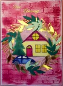 Hübsche, selbstgemachte Karte zum Einzug in ein neues Heim oder Haus - Handarbeit kaufen