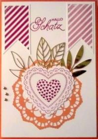 Wunderschöne, selbstgestaltete Karte zum Valentinstag - Handarbeit kaufen