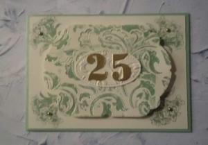 Karte zur Verwendung beim 25sten Geburtstag, Jubiläum, Hochzeit etc. - Handarbeit kaufen
