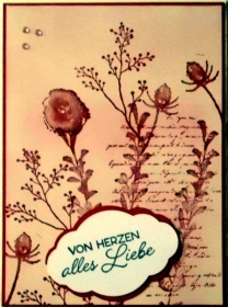 Selbtgestaltete Karte ganz in rosa-rot und im Vintage-Stil - Handarbeit kaufen