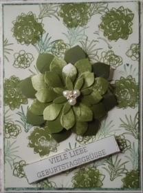 Hübsche, selbstgestaltete Geburtstagskarte für Pflanzenliebhaber. - Handarbeit kaufen