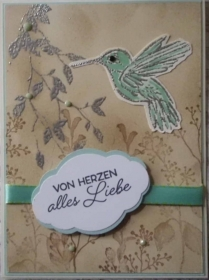 Selbstgestaltete Karte im Vintage-Stil mit Kolibri  - Handarbeit kaufen