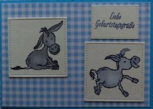 Selbstgestaltete, lustige Grußkarte mit zwei Eseln - Handarbeit kaufen