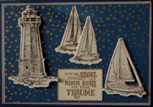 Selbstgemachte, maritime Karte für jemanden, der die See und das Segeln liebt. - Handarbeit kaufen