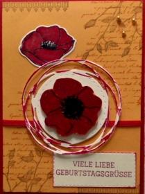 Selbstgemachte, wunderschöne Karte mit Mohnblüten - Handarbeit kaufen