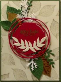 Selbstgemachte Karte mit vielen Blättern und einem roten Swirl - Handarbeit kaufen