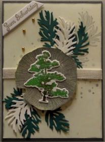 Selbstgestaltete, winterliche Karte mit Zweigen und einem Baum - Handarbeit kaufen