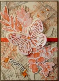 Selbstgestaltete Geburtstagskarte mit Schmetterling - Handarbeit kaufen