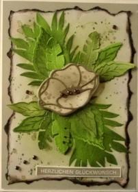 Selbstgestaltete Karte im Vintage-Look mit Blättern und einer Mohnblüte - Handarbeit kaufen