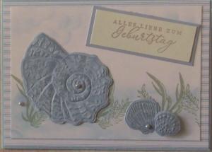Schicke, selbstgemachte Grußkarte mit Muscheln - Handarbeit kaufen