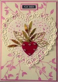 Süße, gebastelte, Karte mit Herz im Herz - Handarbeit kaufen