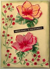 Selbstgestaltete blumige Grußkarte mit Monstera Blättern zum Geburtstag - Handarbeit kaufen
