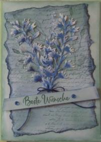 Selbstgemachte Grußkarte im Vintage-Stil nur in blau und grün - Handarbeit kaufen