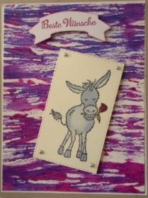 Selbstgemachte Grußkarte mit Fadentechnik und einem Esel mit Rose - Handarbeit kaufen