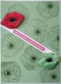 Schlichte, elegante Grußkarte mit Mohnblüten - Handarbeit kaufen