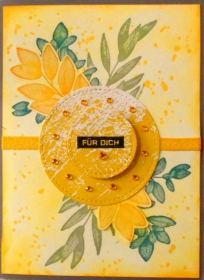 Selbstgefertigte Karte mit Blättern in Gelbtönen - Handarbeit kaufen